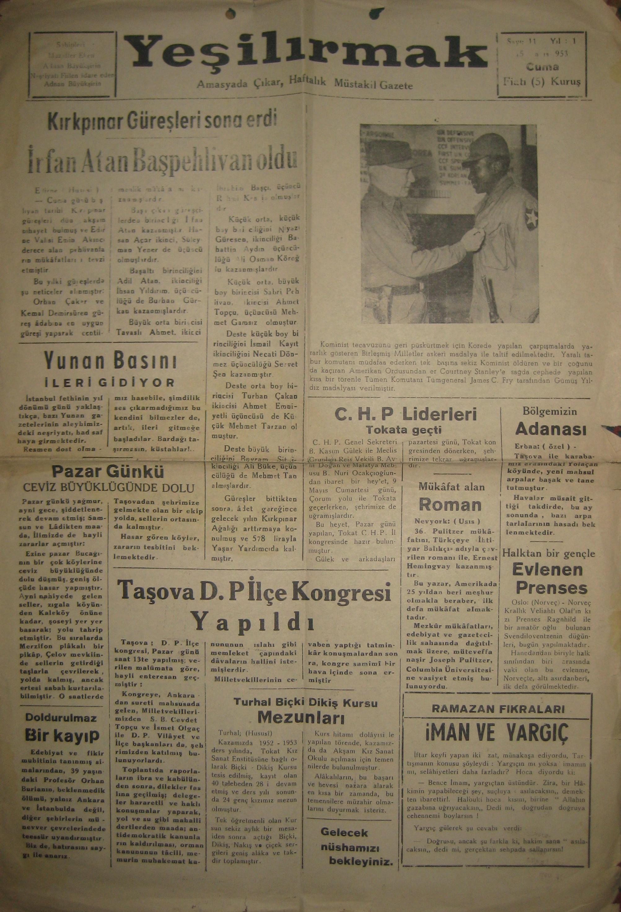 Yeşilırmak Gazetesi 1953
