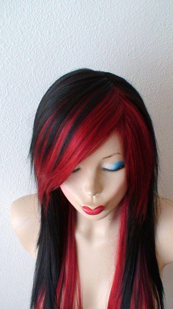 Black Wine Red Scene Wig Emo Wig Scene Hair Emo Hair Long Etsy Black Hair Wigs Hair Styles Scene Hair