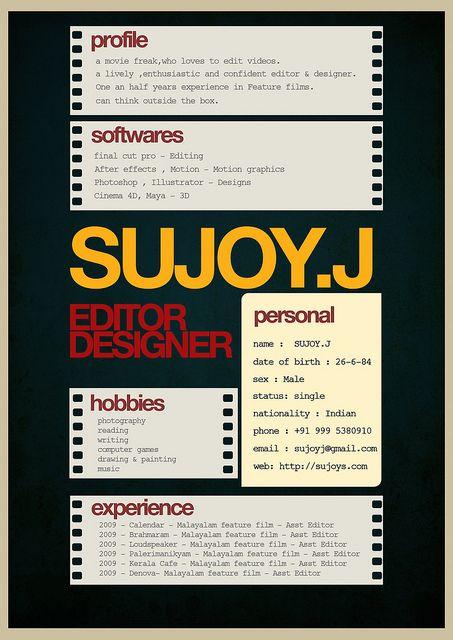 Film Reel Resume Industry Editor Designer Cool resumes