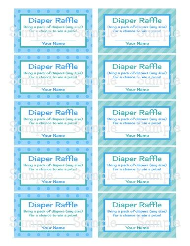 Printable MM Boy Carriage Baby Shower Diaper Raffle Tickets