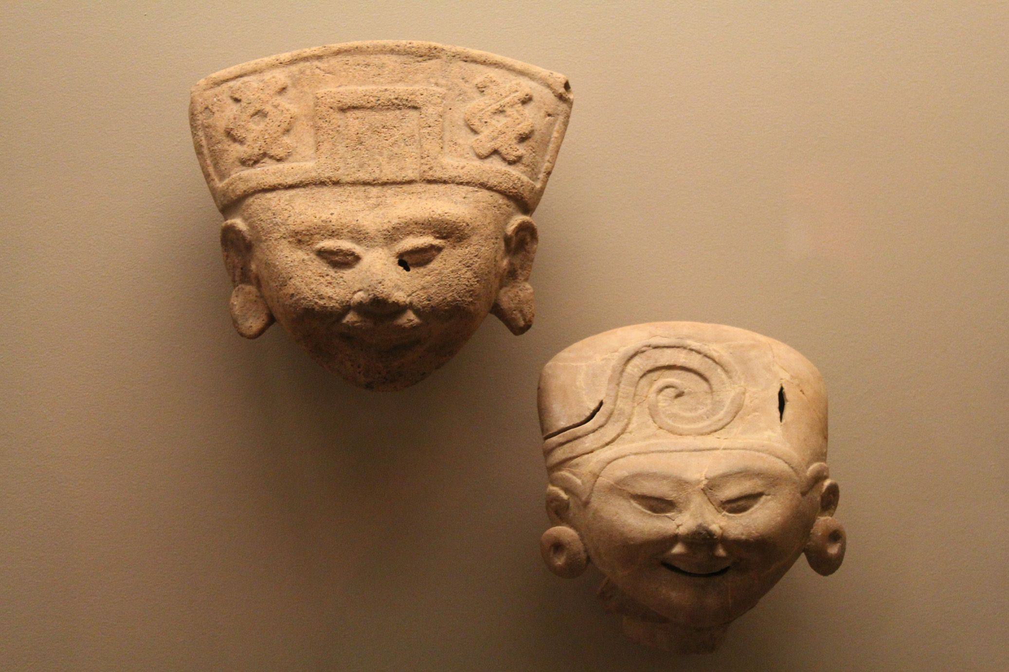 A pair of ceramic heads from veracruz culture british museum pre