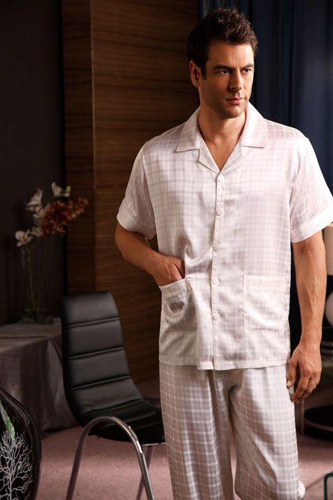Midnight mens silk pajamas s1327 white