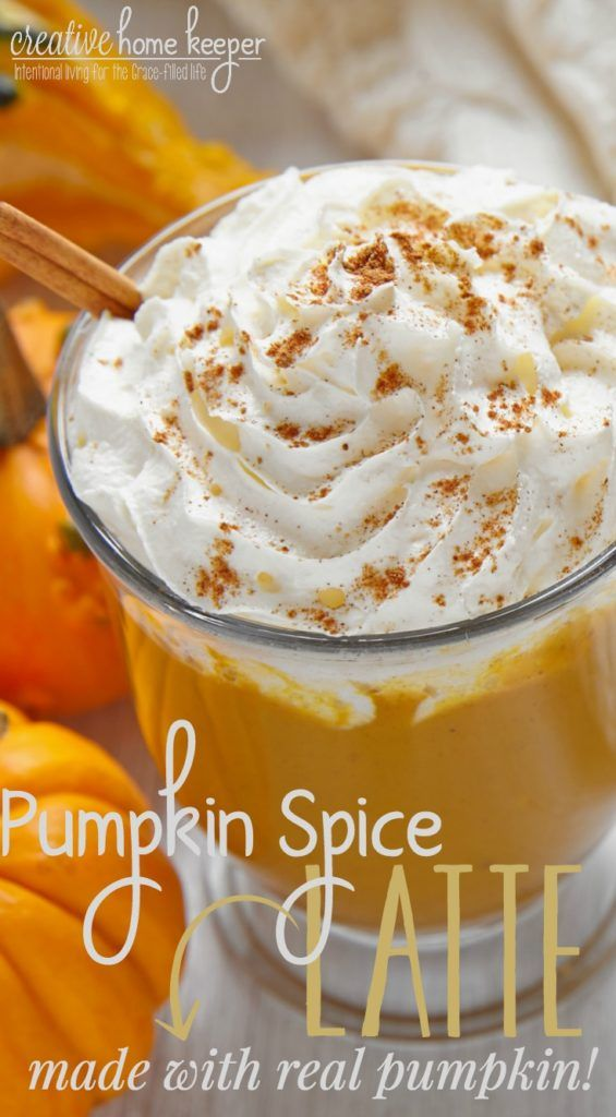 Enjoy a pumpkin spice latte at home with this easy recipe that can be whipped up in minutes. Best of all it's made with REAL PUMPKIN! Perfect for those chilly fall mornings with your favorite fall treat!