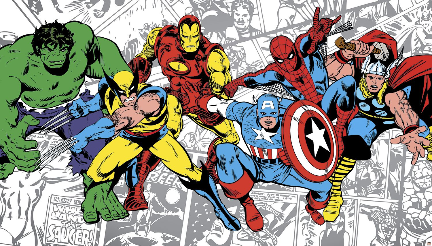 Classic marvel comics wallpaper marvel classics character for Comic book wallpaper mural