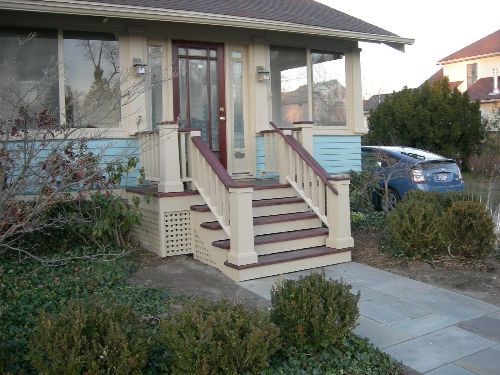 Pin By Kathie Maniaci On Bungalow Stair Railings Outdoor Stair Railing Porch Stairs Porch Steps