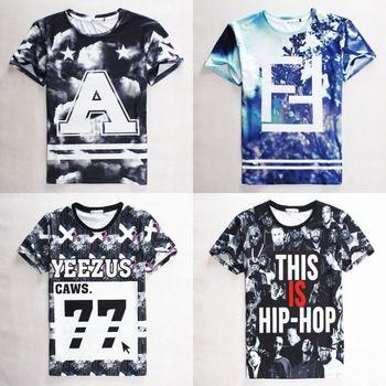 2015 moda do homem tops tees letter imprimir homme HBA / presa / YEEZUS 77 camiseta hip hop manga curta roupas dos homens do esporte camiseta