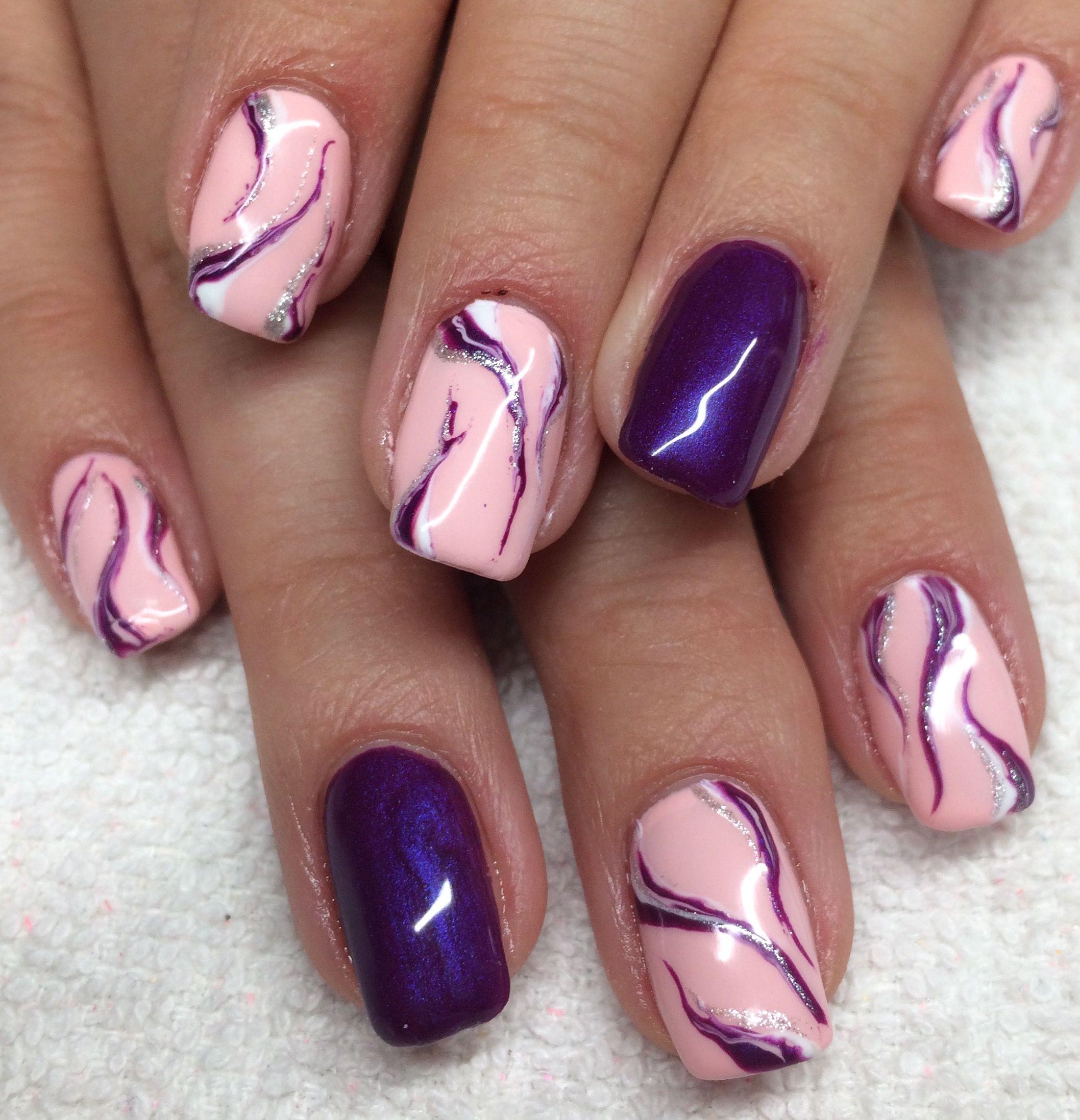 Pink And Purple Marble Fall Nail Designs Nail Designs Acrylic Nail Designs