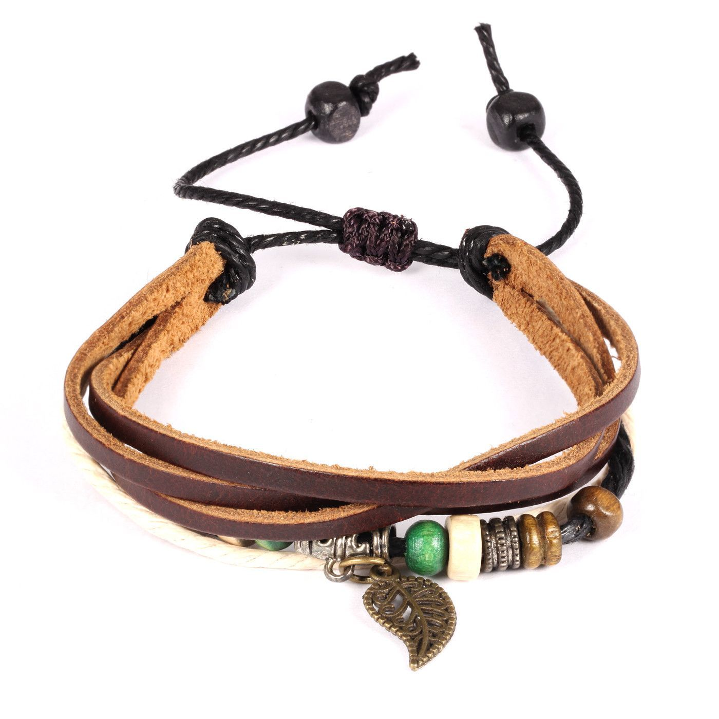 New style Personal fashion Bohemia wind multi leaves pendant leather handchain Adjustable Length