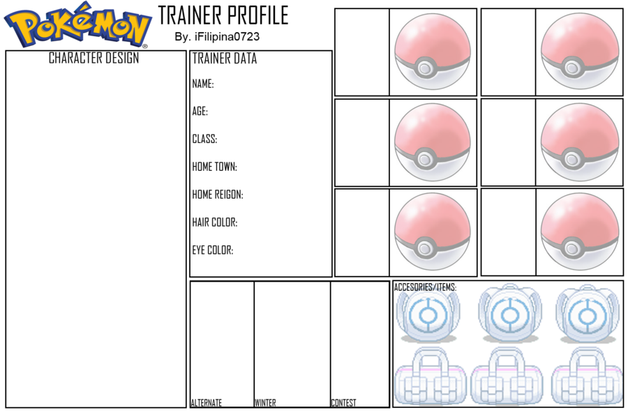Pokemon Oc Template | Blank Pokemon Trainer Profile By Ifilipina0723 Deviantart Com On