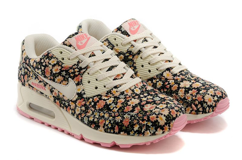 timeless design 33e5b dc510 Nike Air Max 90 - Floral Print Running Shoes - Jasmine Flower