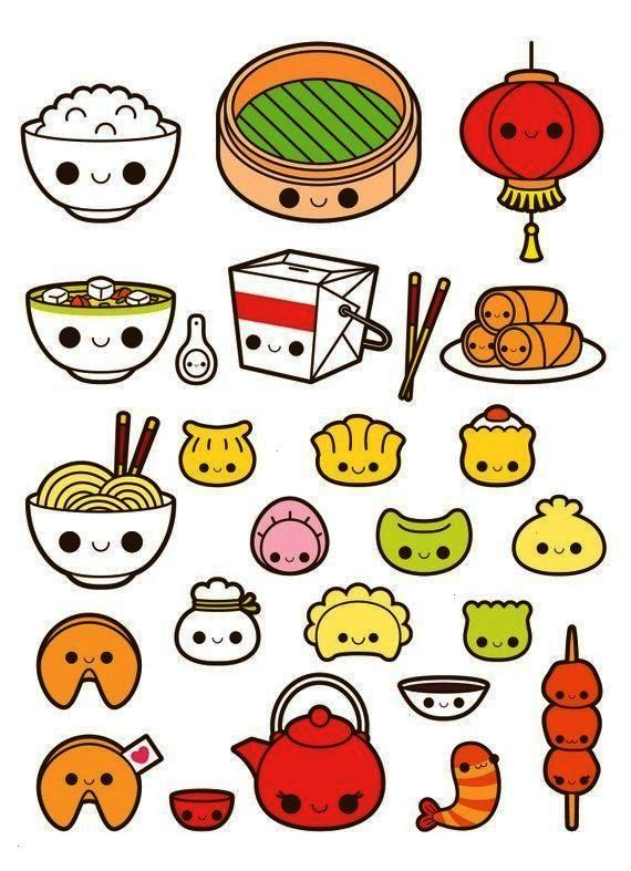 food clipart, kawaii food clipart, fortune cookie clipart, soup clipart, dim sum clip - Kawaii chin