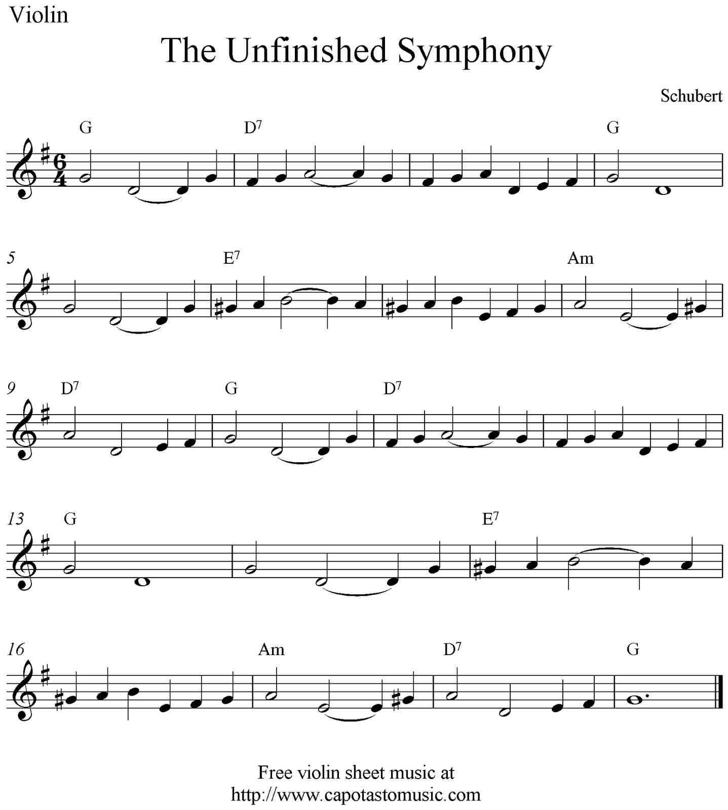 Free Sheet Music Scores: The Unfinished Symphony, free