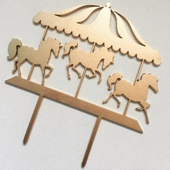 Custom Carousel Glitter Cake Topper  First Birthday  Personalized Topper  Little Girl Birthday  Party Decor  Horses  Merry-Go-Round