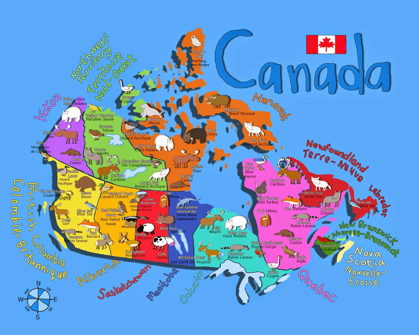 Fun Map Of Canada For Kids With Animals In