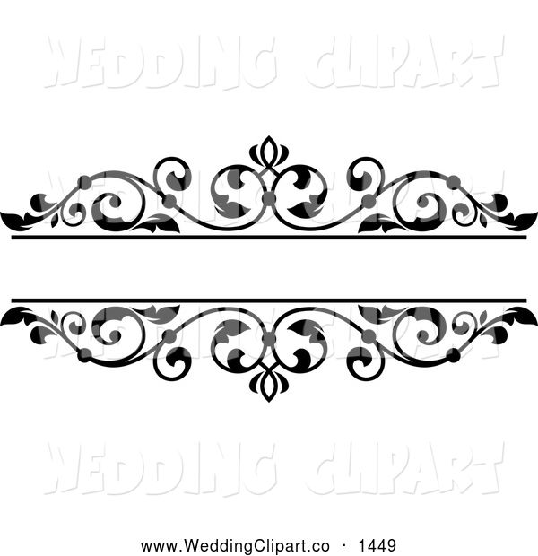 Wedding Hair Style Black Vector Art: Vector Marriage Clipart Of A Black And White Floral