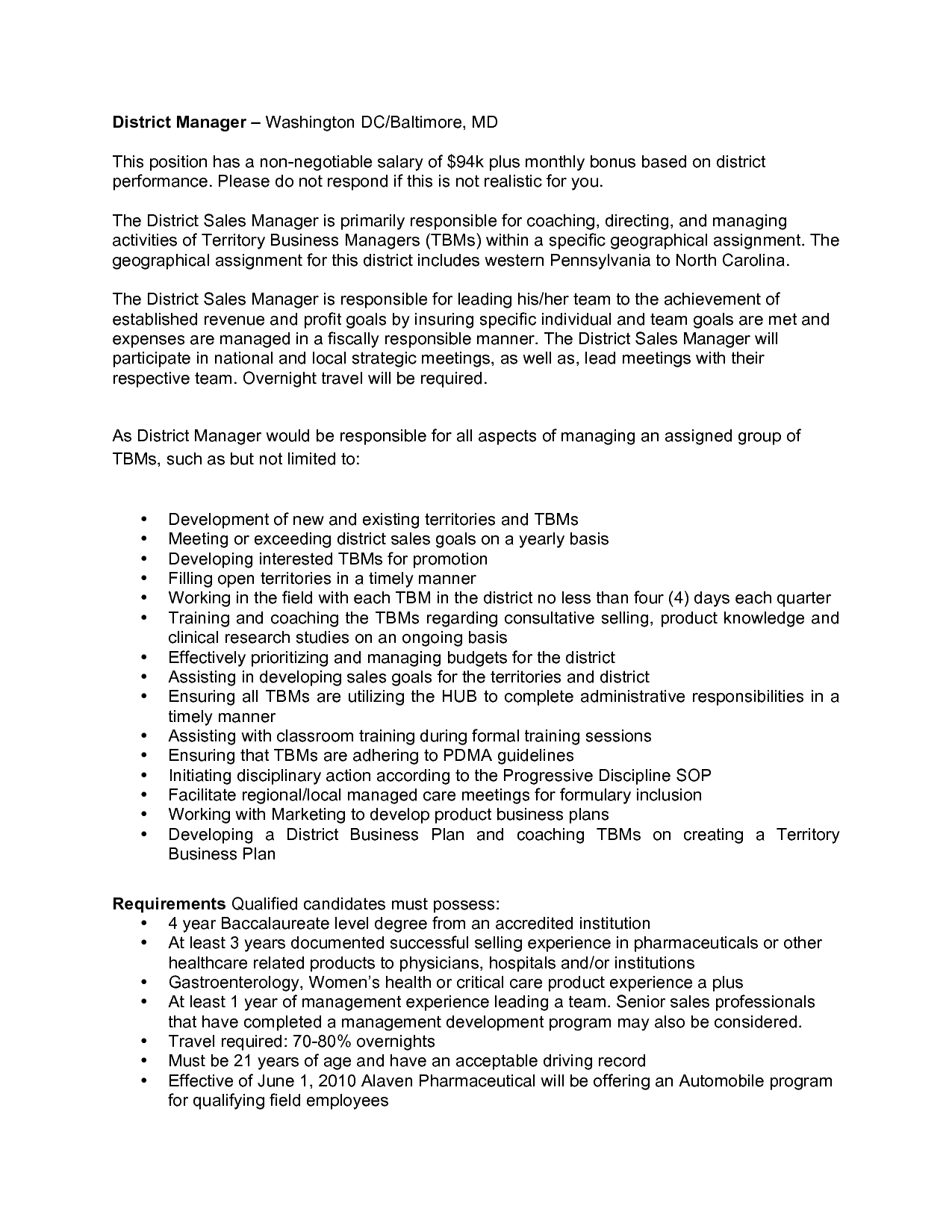 Sample Strategy Resume Sample District Sales Plan District Sales Manager 1 Year