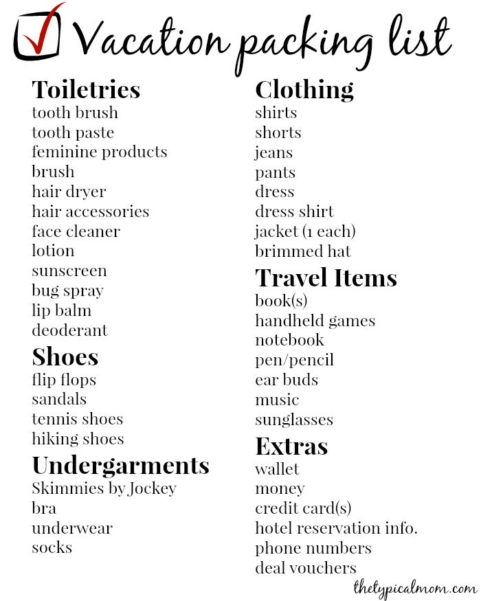 Vacation Packing List  Vacation Packing Lists Vacation List And