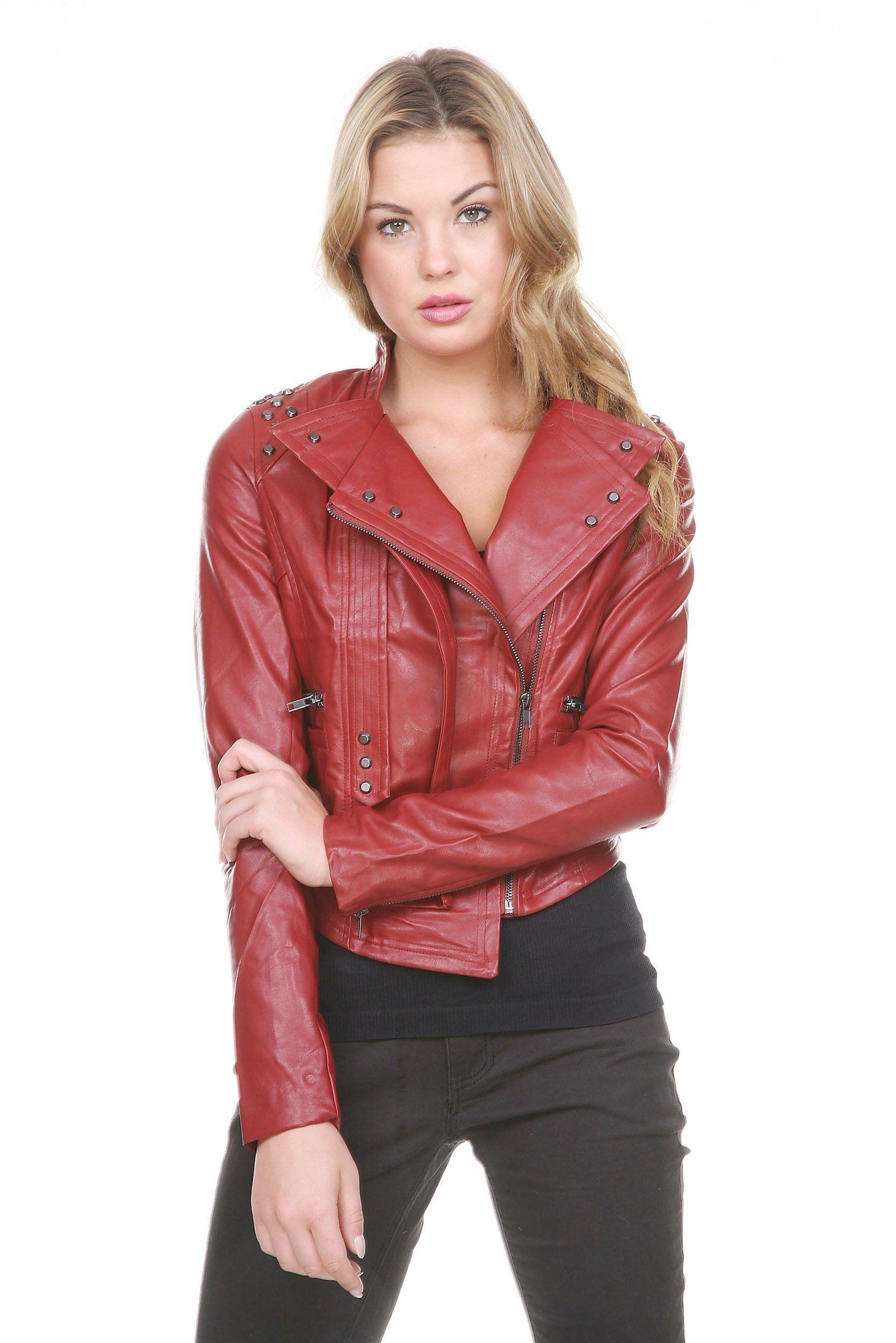 7cd1783fd7079 Stanzino® Faux Vegan Leather Women Moto Racing Jacket-Black