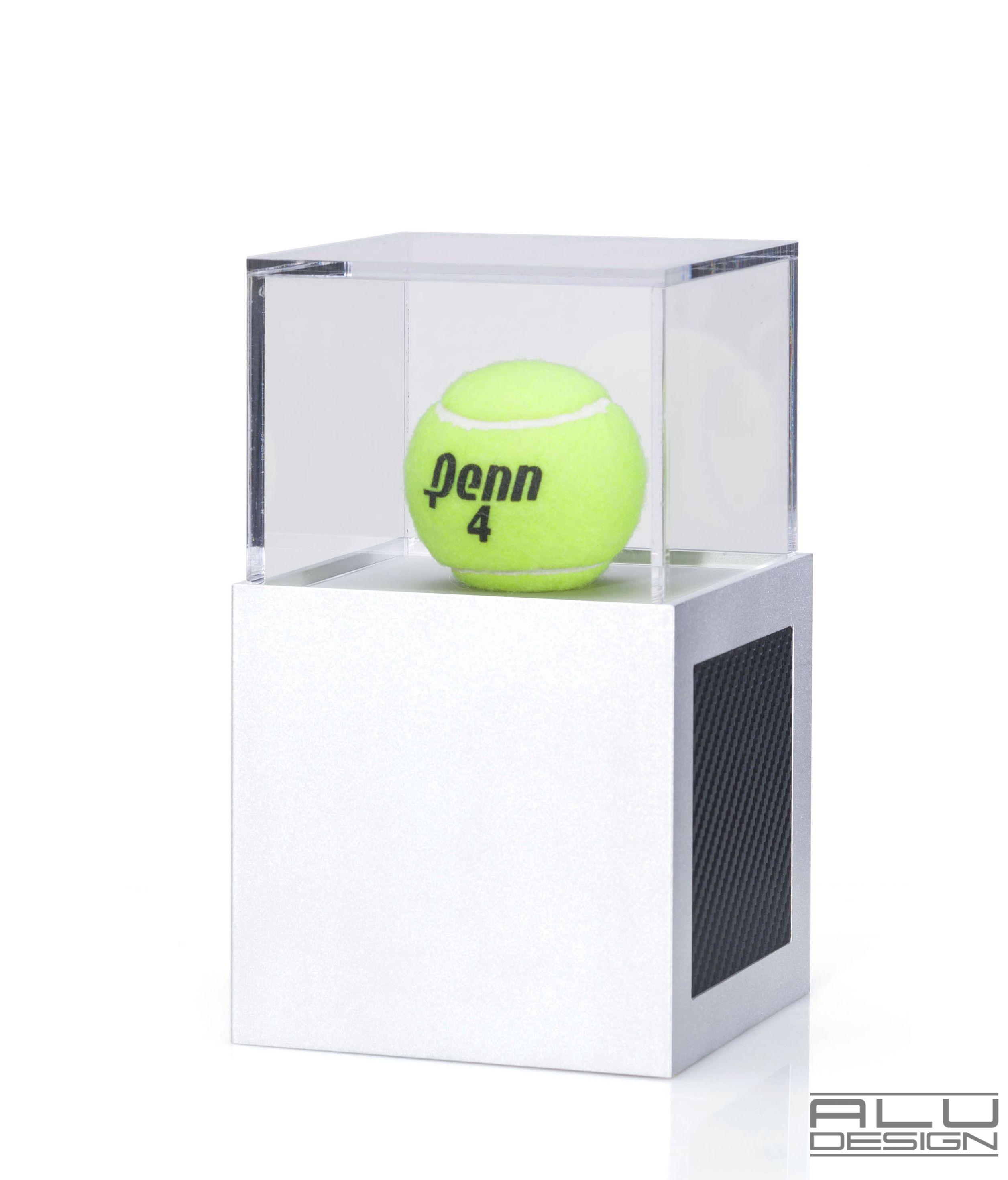A Modern Tennis Ball Display Case Anodized Silver Aluminum