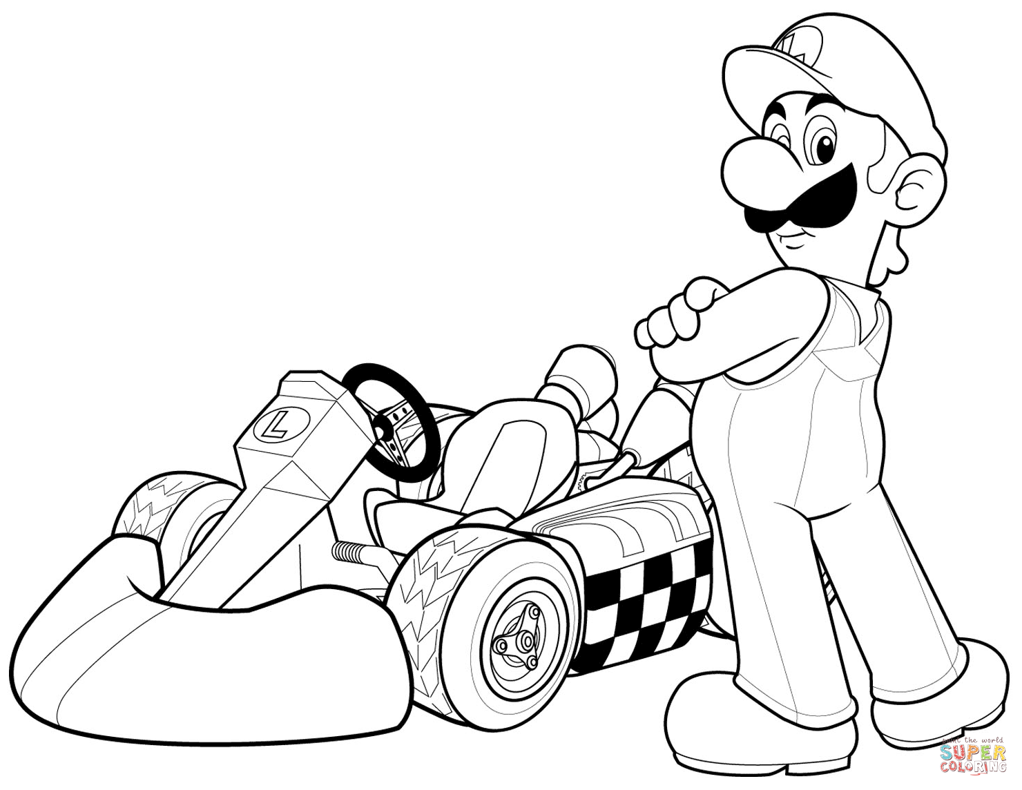Luigi In Mario Kart Wii Super Coloring Super Mario Coloring Pages Mario Coloring Pages Coloring Pages
