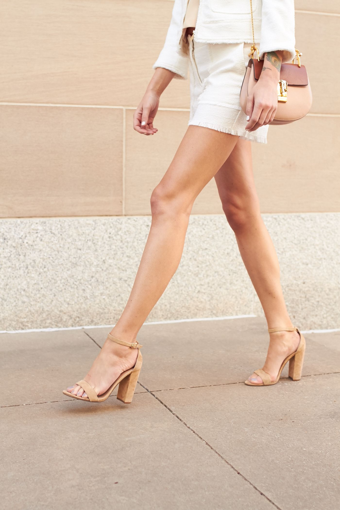 ca11d4aec7c fashion-jackson-steve-madden -carrson-tan-ankle-strap-sandals-chloe-drew-handbag-white-fringed-tweed-shorts