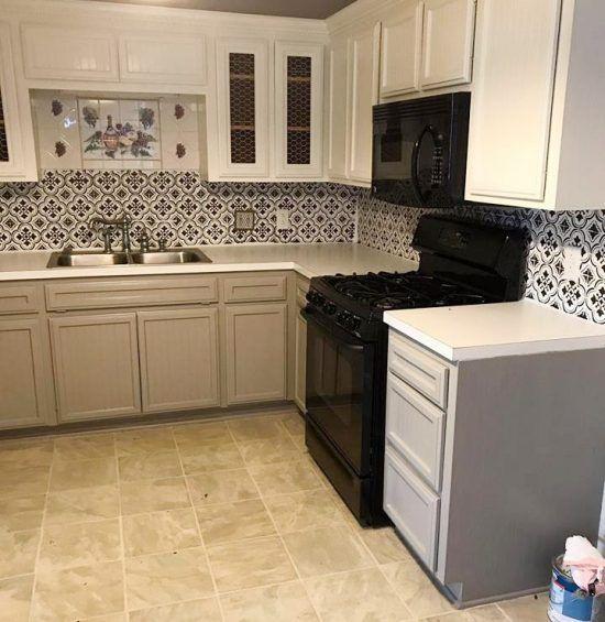Stencil Tile Backsplash Part - 15: A DIY Stenciled Faux Tile Backsplash In A Kitchen Using The Santa Ana Tile  Stencil From
