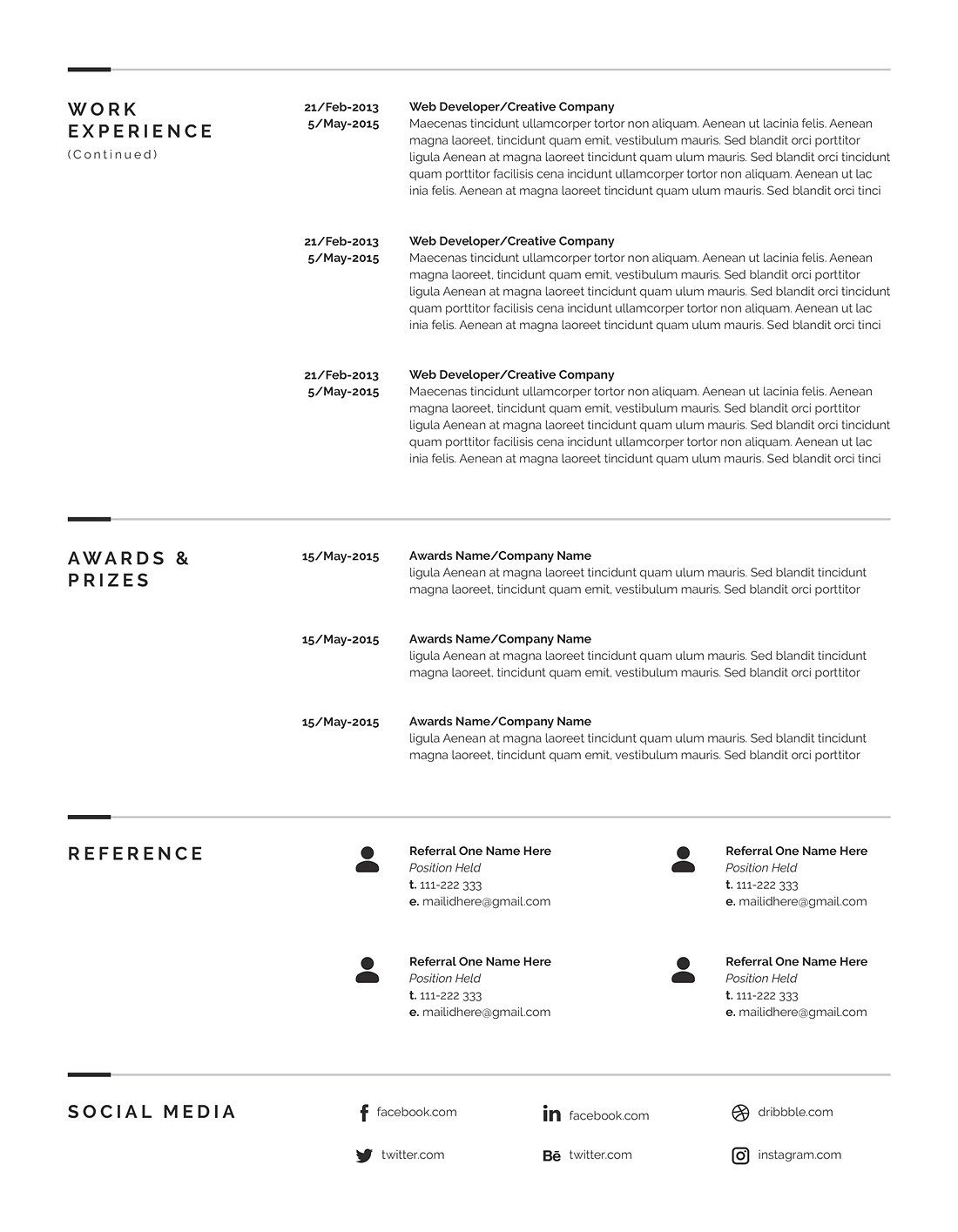 Pages Templates Resume Minimal Resume Template 4 Pages Color Palette Template Original