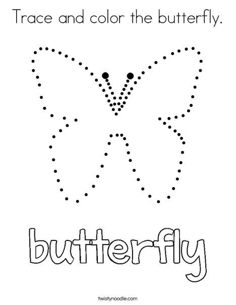 Trace and color the butterfly Coloring Page Twisty