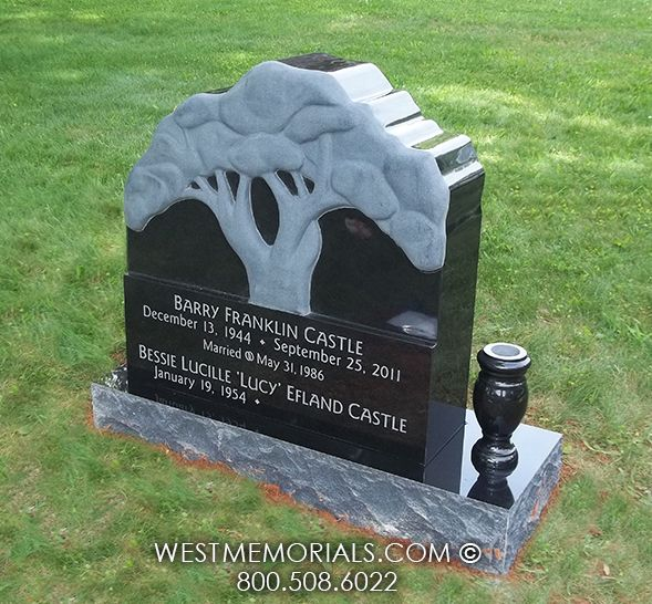 Castle Tree With A Vase Design Headstone In Black Granite