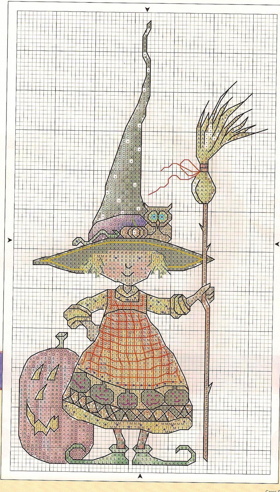 little witch Halloween cross stitch | Cross Stitch | Pinterest ...