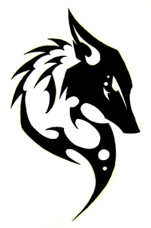 Kitsune Sihlouette Tribal Wolf Tattoo Tribal Drawings Tribal Fox