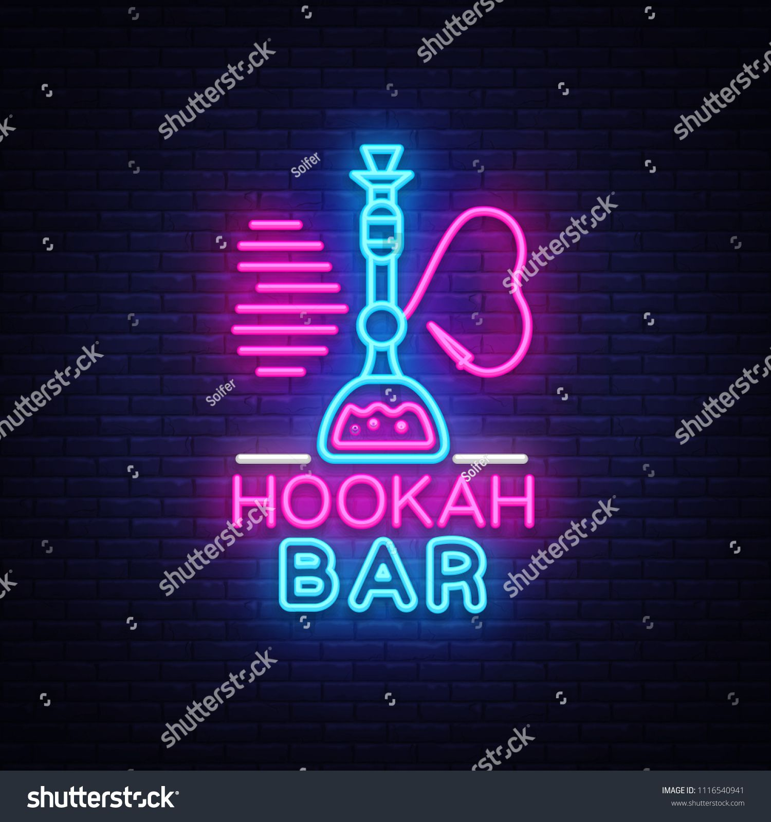 Hookah Bar Neon Sign Vector Night Hookah Design Template Light