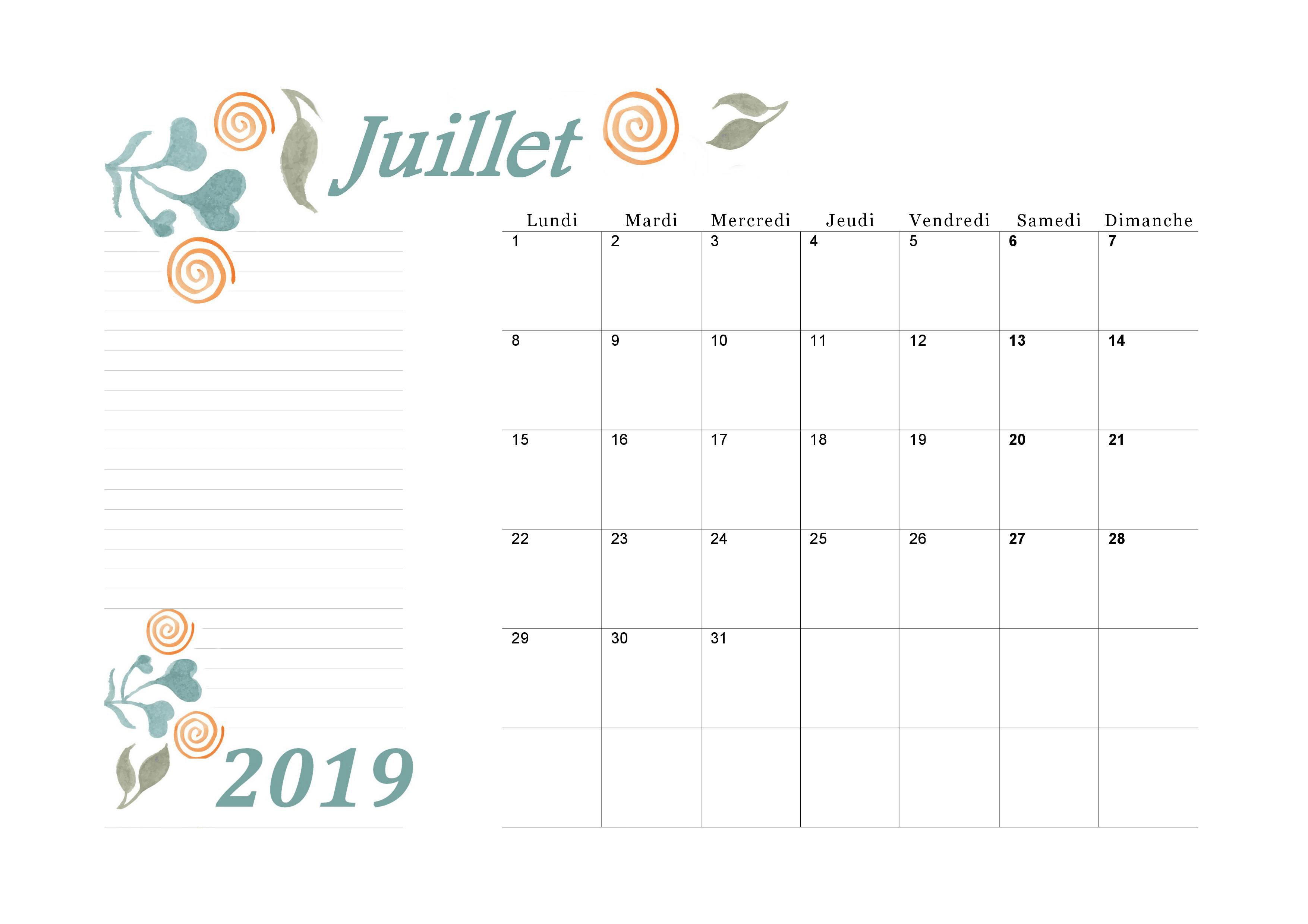 Calendrier A Imprimer Juillet 2019.Calendrier Mensuel 2019 Du Mois De Juillet A Imprimer