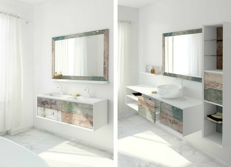 vasque salle de bain en bois patiné et blanc mat