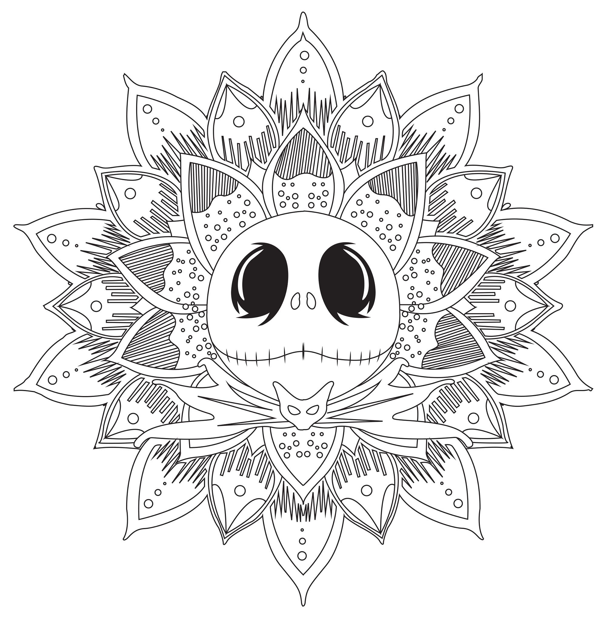 A Mandala Inspired By The Nightmare Before Christmas And His Main In 2020 Mandala Coloring Pages Nightmare Before Christmas Tattoo Nightmare Before Christmas Drawings
