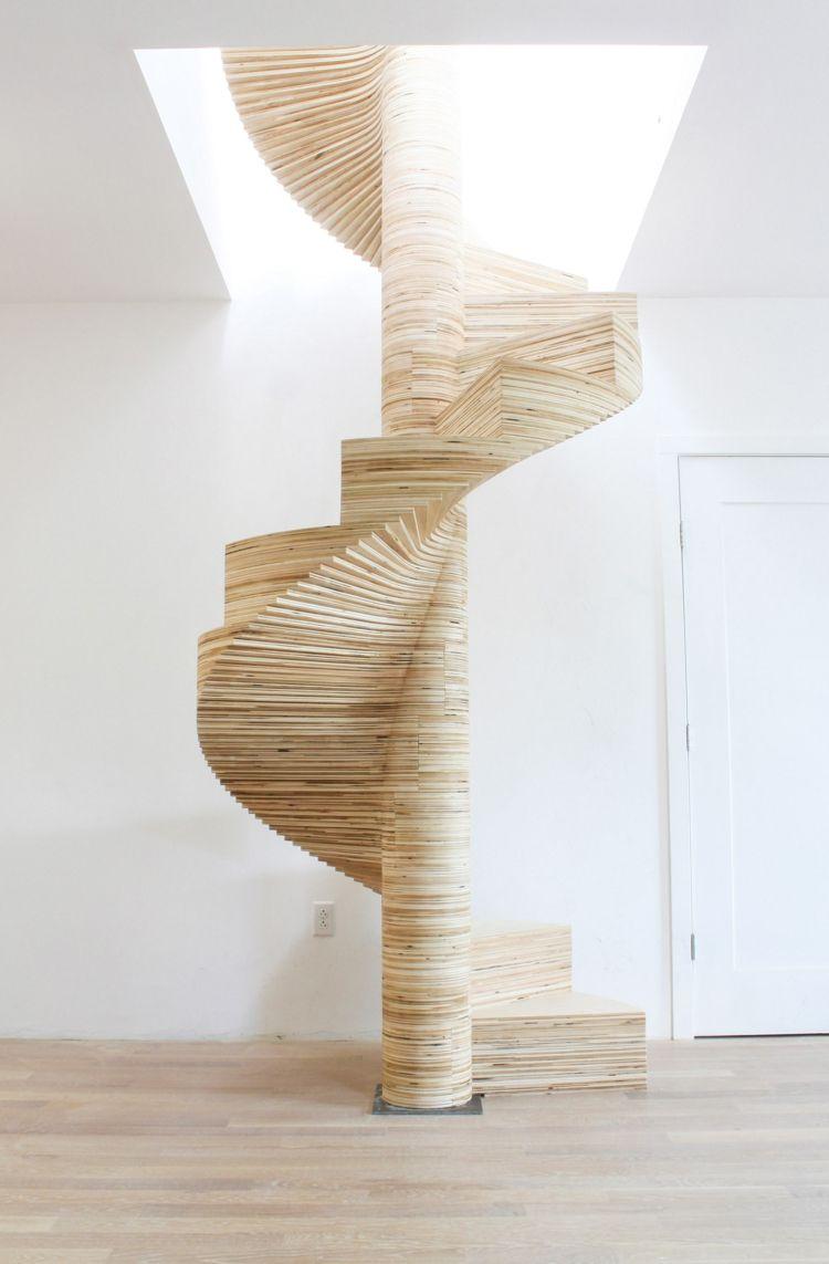 attraktives minimalistisches design holz wendeltreppe innen schmal ...