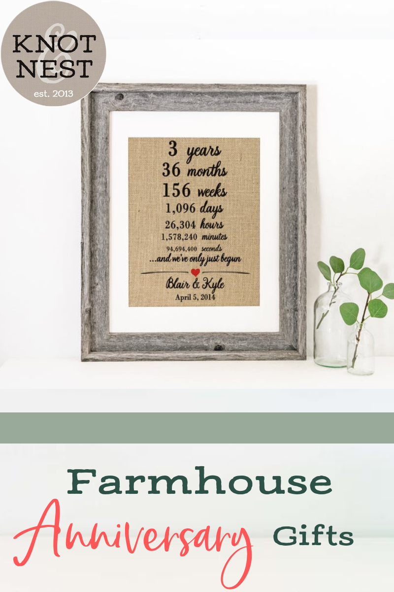 Farmhouse Decor Three Year Anniversary Gift Ideas Wall Decor