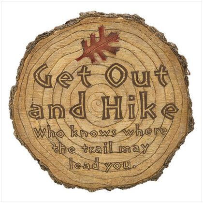 """""""Get Out & Hike"""" Tree Stump 10"""" Garden STEPPING STONE"""