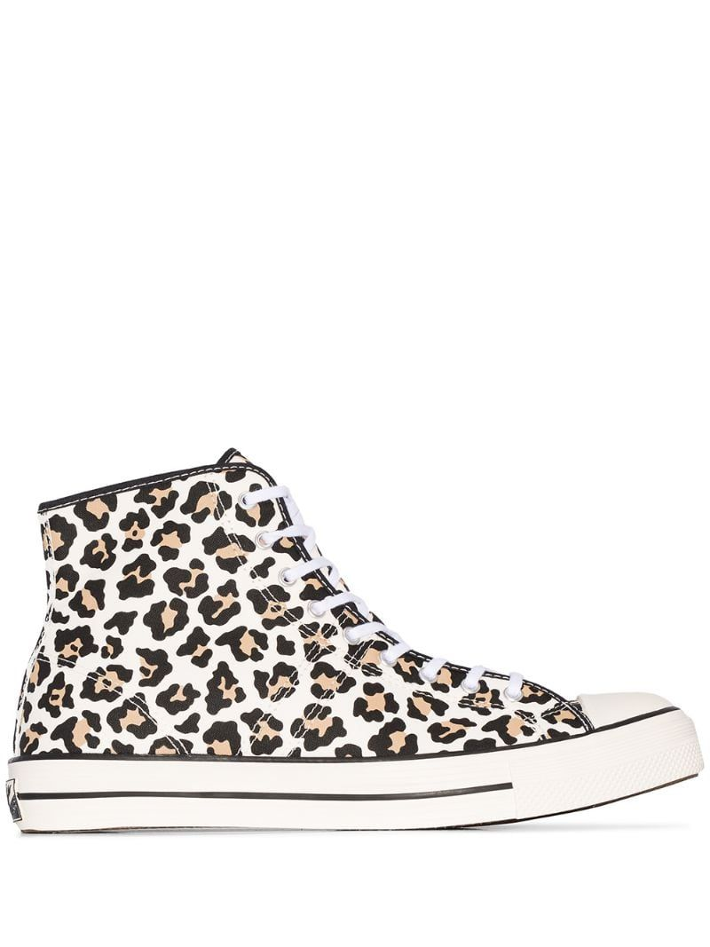 Converse white lucky star leopard print high top sneakers