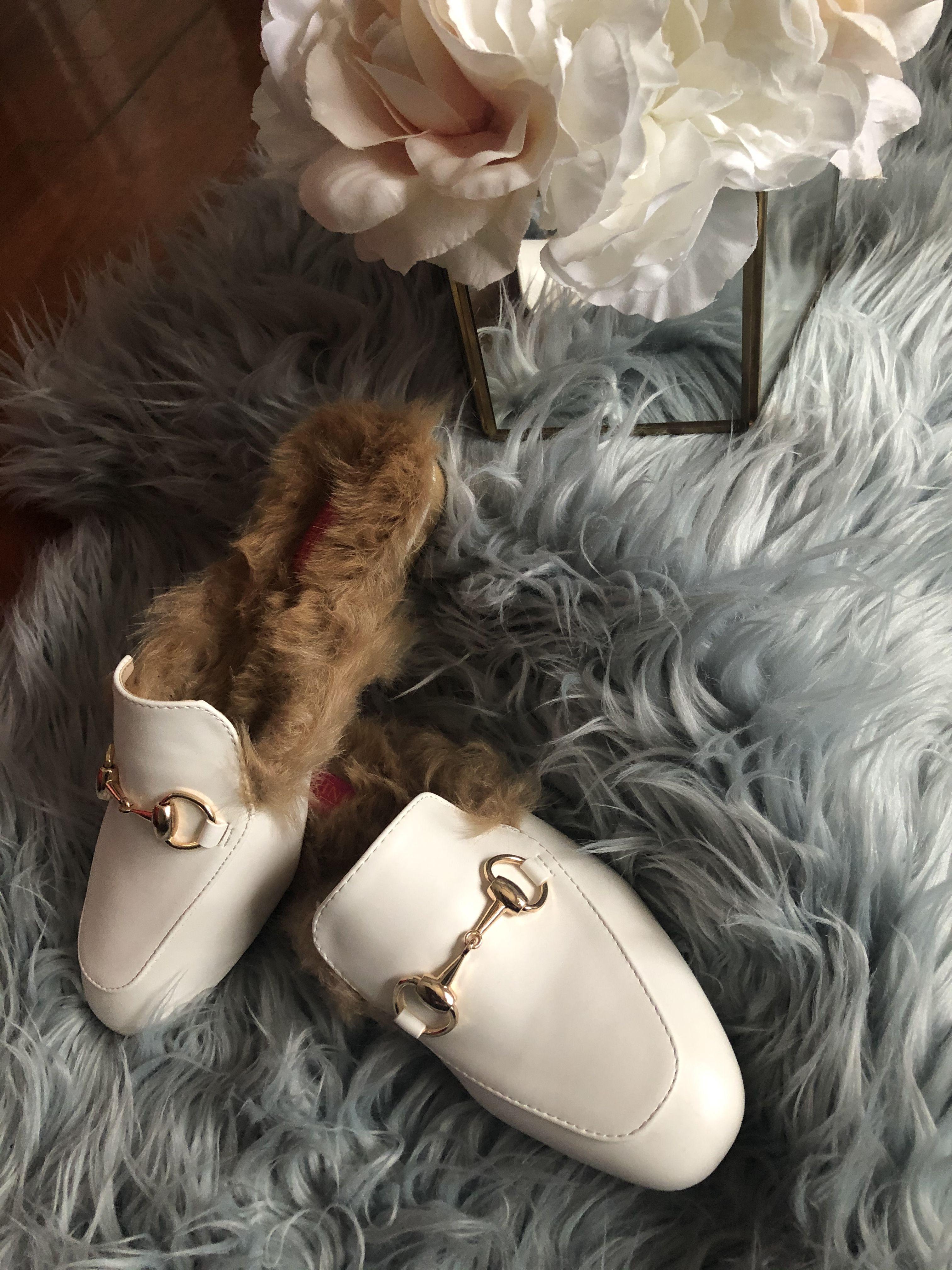 White faux fur lined women mule shoes