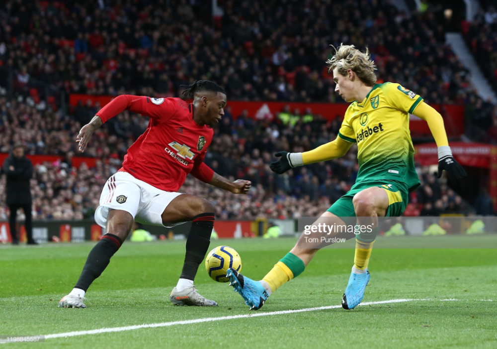 Aaron Wan Bissaka Of Manchester United In Action With Todd Cantwell In 2020 Manchester United Manchester The Unit