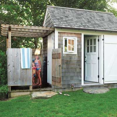 Turn your garden shed into a multiuse space backyard for Shed into pool house