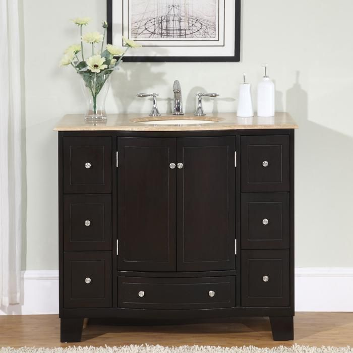 Beautiful Silkroad Exclusive 40 Inch Single Sink Cabinet Bathroom Vanity   Overstock™  Shopping   Great