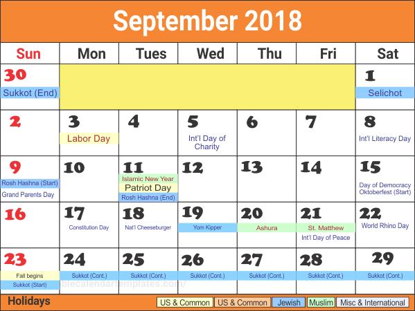 US Holidays Calendar For September 2018