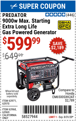 Predator 9000 Watt Max Starting Extra Long Life Gas Powered Generator For 599 99 In 2020 Gas Powered Generator Power Generator Harbor Freight Tools
