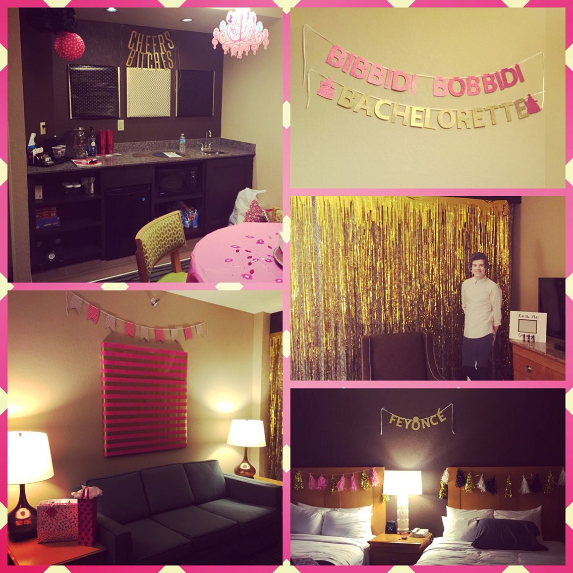 Hotel room decorated for a bachelorette party for Bachelorette party decoration ideas