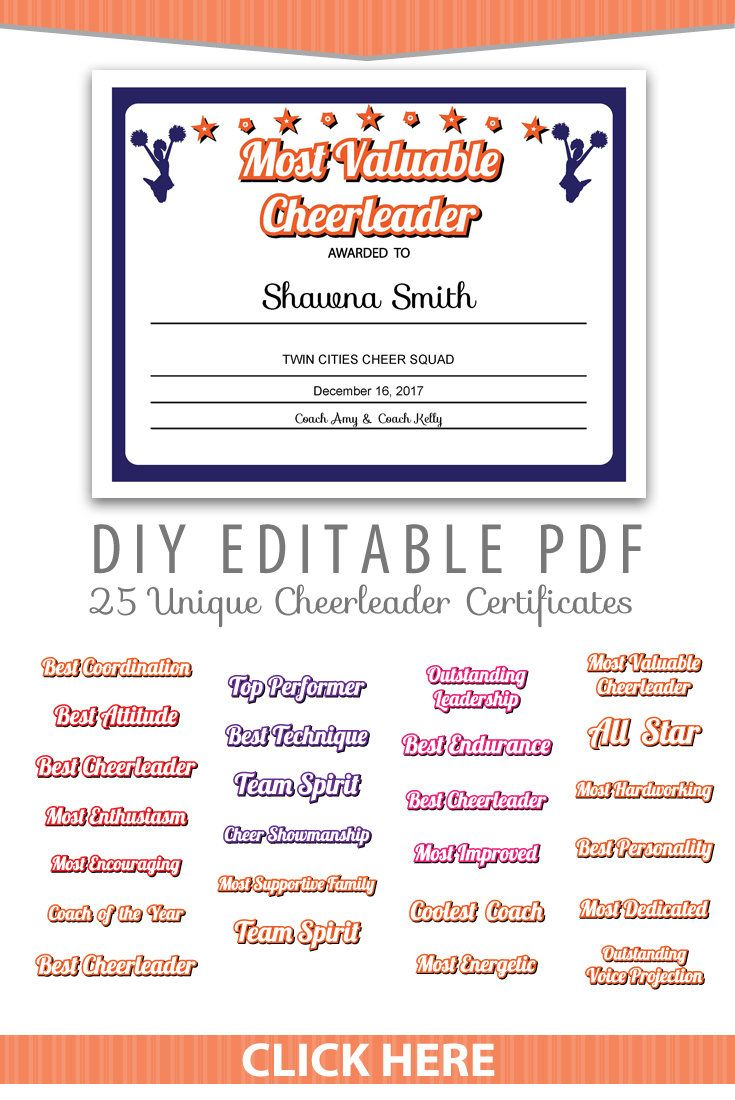 Unique Cheerleader Certificates Editable Pdf Sports Team
