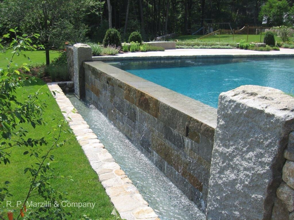 Infinity Edge Pool Granite Coping Piers Landscape Architecture By Gregory Lombardi Design Bassin De Nage Piscine Bassin