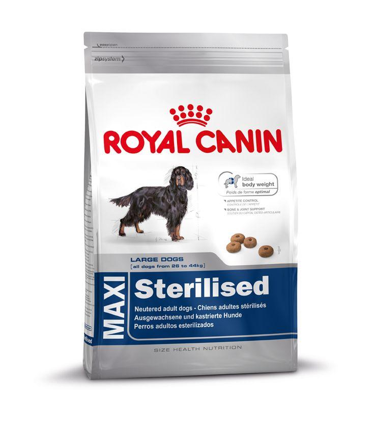 MAXI Sterilised - Alleinfuttermittel für kastrierte #Hunde ab dem 15. Monat.  MAXI Sterilised kann unter Beachtung einer speziell abgestimmten Fütterungstabelle (siehe Packungsaufdruck) sowie dem Zusammenwirken eines erhöhten #Proteingehalts (28%), eines reduzierten #Fettgehalts (13%) und L-Carnitin (zur Unterstützung der #Fettverbrennung helfen, das #Idealgewicht bei kastrierten Hunden zu halten.