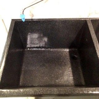 Concrete Sink Refinishing Done In Black Granite Multi Stone Left Side Of  Double Bowl Cement